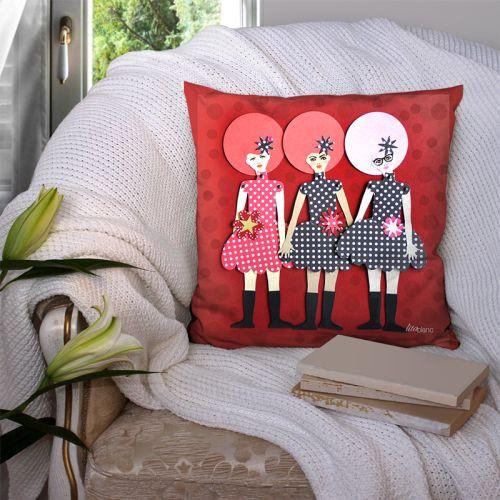 Coupon 45x45 cm motif poupée rétro rouge à pois - Création Lita Blanc