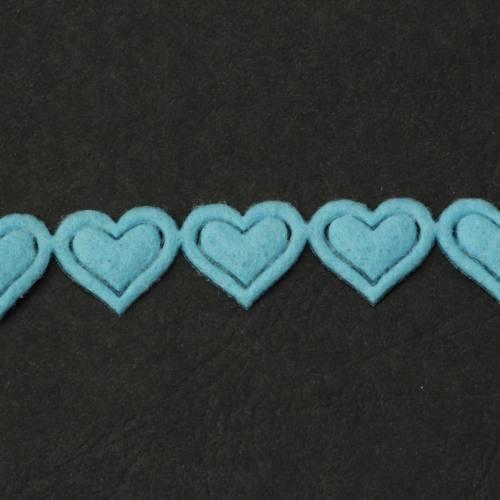 Ruban fantaisie thermocollant coeur bleu