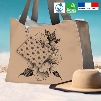 Kit sac de plage imperméable motif fleur effet tattoo - Queen size - Création LAB6