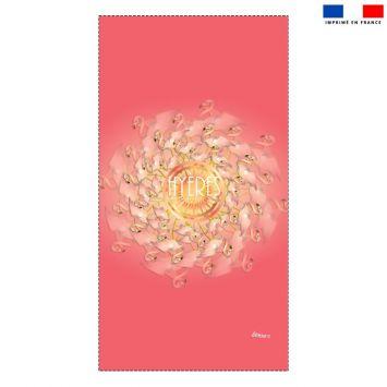 Coupon éponge pour serviette de plage simple motif flamant rose Hyères - Création Lita Blanc