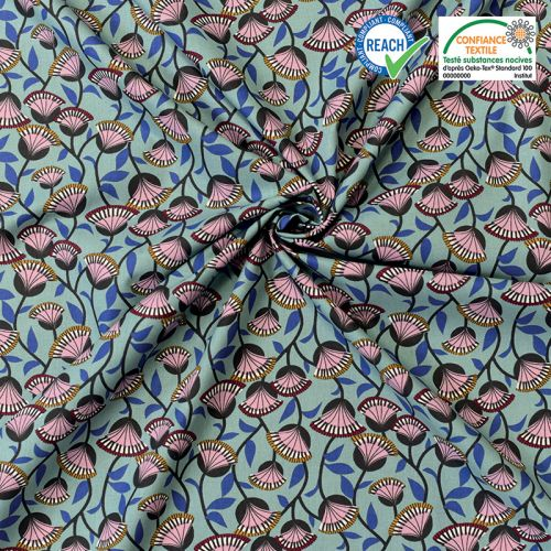 Coton bleu motif fleur éventail violine nyer Oeko-tex