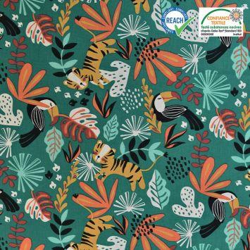 Coton vert émeraude motif jungle kimang Oeko-tex