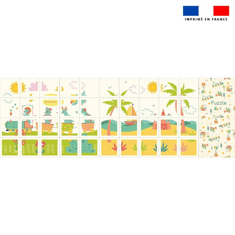 Patron imprimé pour jeu de puzzle 2 en 1 motif animaux en vacances