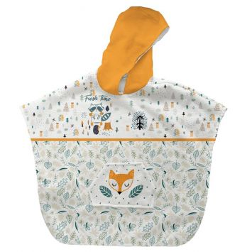 Patron imprimé sur tissu éponge pour poncho de bain motif animaux de la forêt