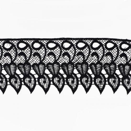 Ruban dentelle guipure 9 cm noire