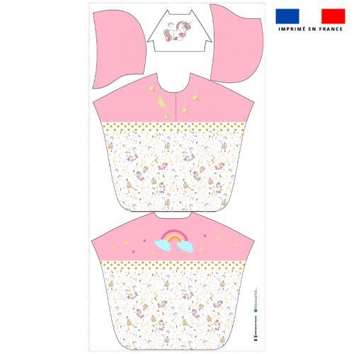 Patron imprimé sur tissu éponge pour poncho de bain motif licorne rose