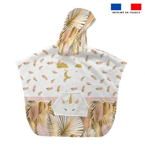 Patron imprimé sur tissu éponge pour poncho de bain motif licorne gold
