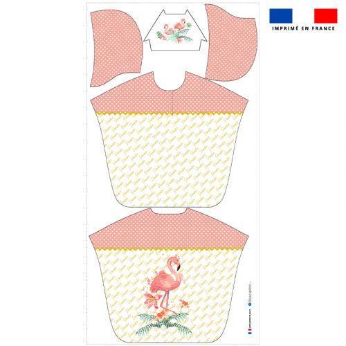 Patron imprimé sur tissu éponge pour poncho de bain motif flamant rose