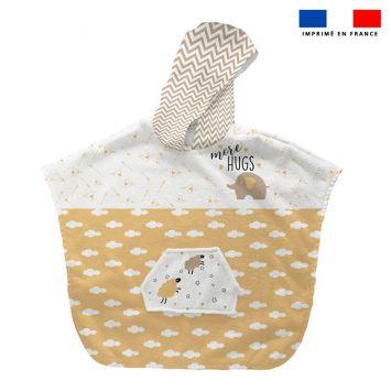 Patron imprimé sur tissu éponge pour poncho de bain motif baby ocre