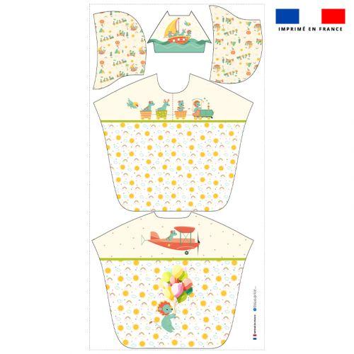 Patron imprimé sur tissu éponge pour poncho de bain motif animaux en vacances