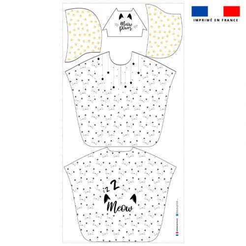 Patron imprimé sur tissu éponge pour poncho de bain motif chat