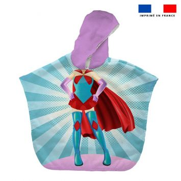 Patron imprimé sur tissu éponge pour poncho de bain motif super-héroine