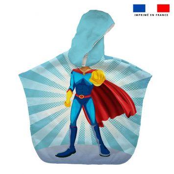 Patron imprimé sur tissu éponge pour poncho de bain motif super-héros