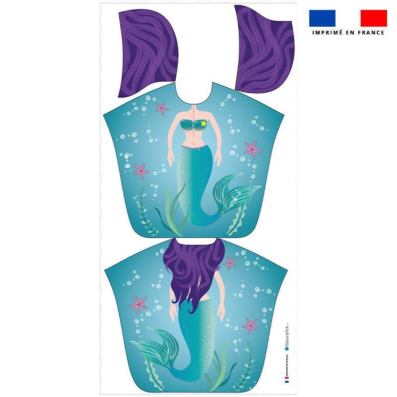 Patron imprimé sur tissu éponge pour poncho de bain motif sirène