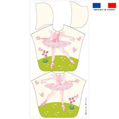 Patron imprimé sur tissu éponge pour poncho de bain motif danseuse