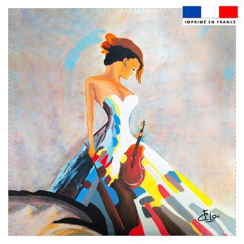 Coupon 45x45 cm motif violon - Création Lilou L