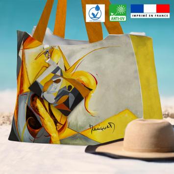 Kit sac de plage imperméable motif duo et fantasme - Queen size - Création Monique.D