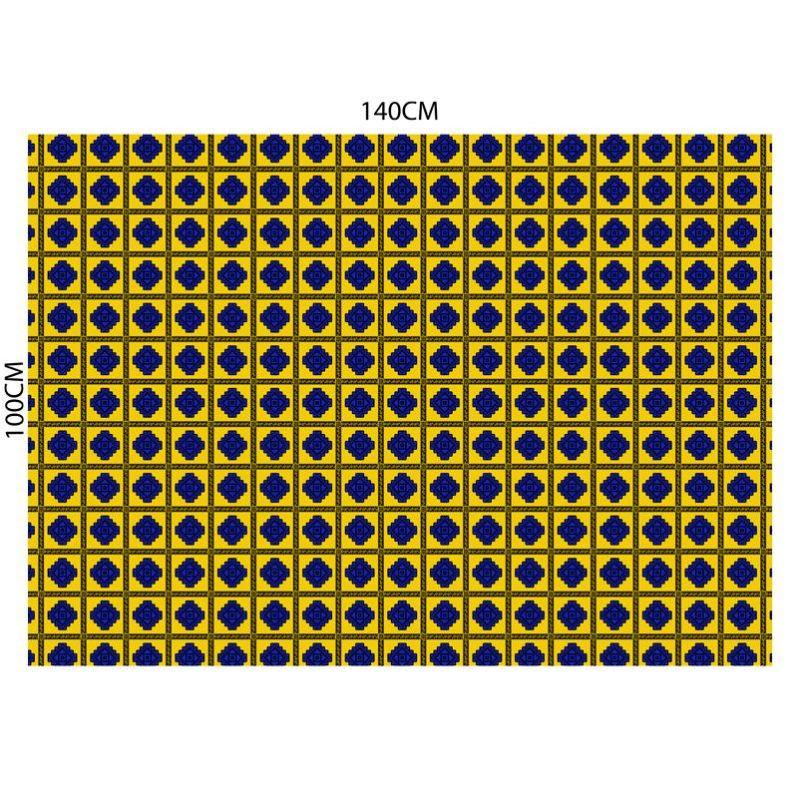 Tableau wax géométrique - Fond bleu