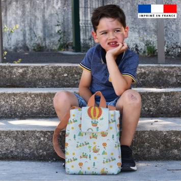 Kit sac à dos enfant motif animaux en vacances