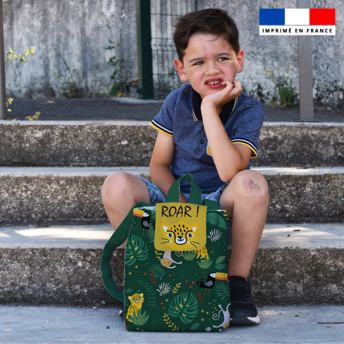 Kit sac à dos enfant motif animaux de la jungle
