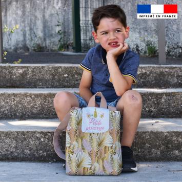 Kit sac à dos enfant motif licorne gold