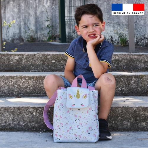 Kit sac à dos enfant motif licorne rose