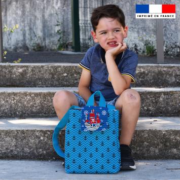 Kit sac à dos enfant motif pirate bleu