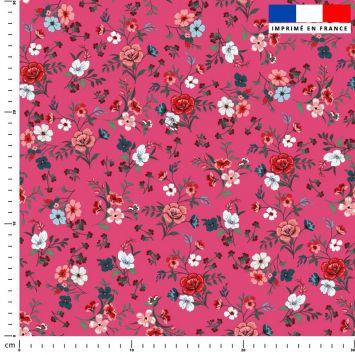 Petites fleurs champêtres rouges - Fond vieux rose