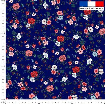 Petites fleurs champêtres rouges - Fond bleu foncé