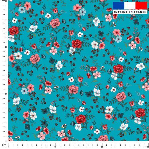 Petites fleurs champêtres rouges - Fond bleu bondi
