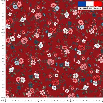 Petites fleurs champêtres rouges - Fond rouge