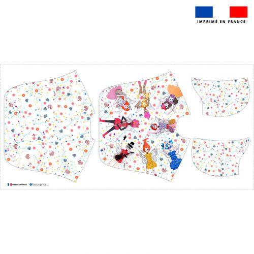 Patron imprimé sur tissu éponge pour poncho de bain motif poupée - Création Lita Blanc