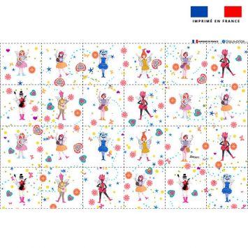 Coupon éponge pour lingettes démaquillantes motif poupée fantaisie - Création Lita Blanc