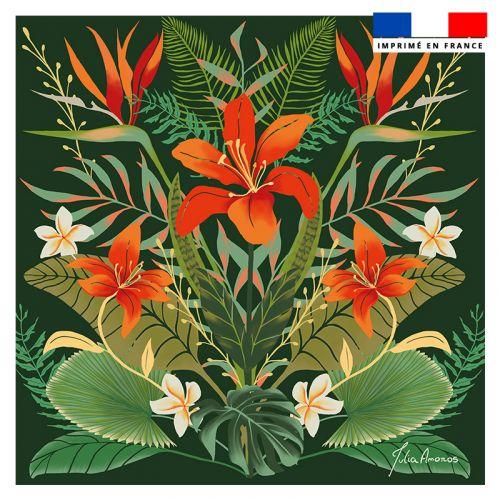 Coupon 45x45 cm vert motif bouquet de lys - Création Julia Amorós