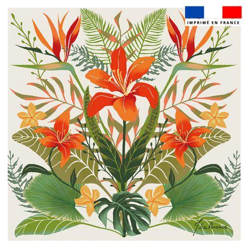 Coupon 45x45 cm beige motif bouquet de lys - Création Julia Amorós