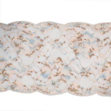 Dentelle de Calais rose bleue et beige 7 cm