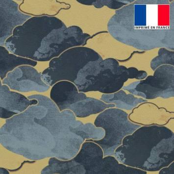 Velours ras beige imprimé nuage gris