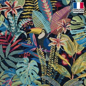 coupon - Coupon 50cm - Jacquard bleu motif toucan