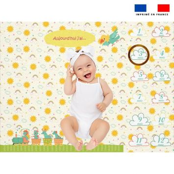 Coupon 100x75 cm pour couverture mensuelle bébé motif animaux en vacances