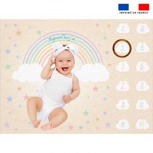 Coupon 100x75 cm pour couverture mensuelle bébé motif arc-en-ciel