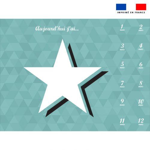 Coupon 100x75 cm pour couverture mensuelle bébé motif étoile blanche