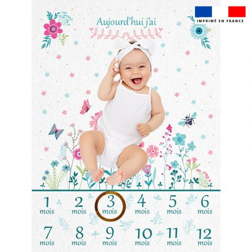 Coupon 100x75 cm pour couverture mensuelle bébé motif flower