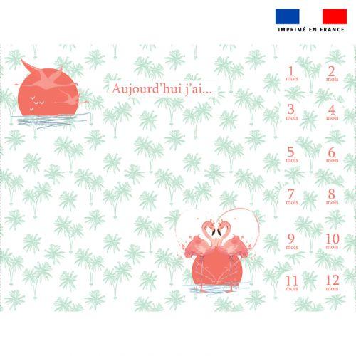 Coupon 100x75 cm pour couverture mensuelle bébé motif flamant rose