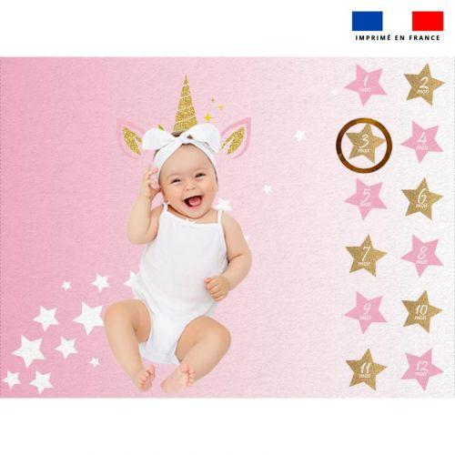 Coupon 100x75 cm pour couverture mensuelle bébé motif licorne