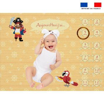Coupon 100x75 cm pour couverture mensuelle bébé motif pirate