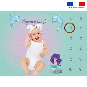 Coupon 100x75 cm pour couverture mensuelle bébé motif sirène