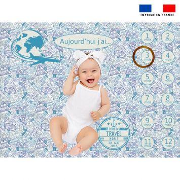 Coupon 100x75 cm pour couverture mensuelle bébé motif voyage