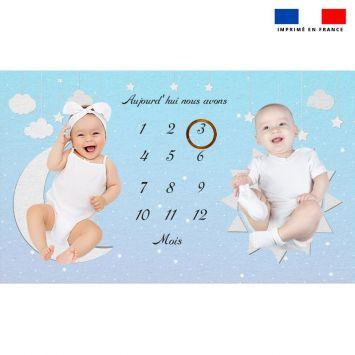 Coupon 125x75 cm pour couverture mensuelle jumeaux motif nuit étoilée
