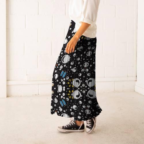 Satin noir motif bubble dot - Anne-Sophie Dozoul