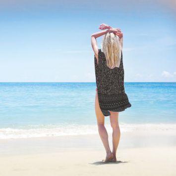 Coupon 135x200 cm de mousseline pour poncho de plage motif fleur effet dentelle